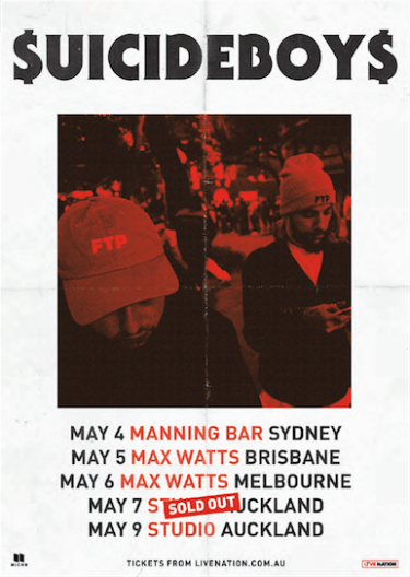 $uicideBoy$ Debut Tour of Australia and New Zealand | Niche Productions